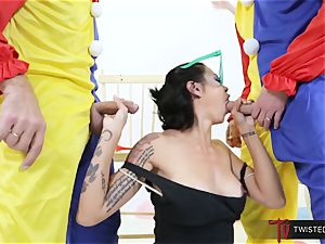 Dana Vespoli drilled by creepy phat spear clowns