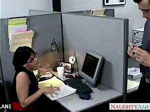 black-haired office stunner Tory Lane poking