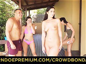CROWD restrain bondage Outdoor pool hookup for hot Loren Minardi